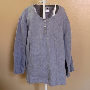 FLAX Blue Affirmation Tag Linen Top